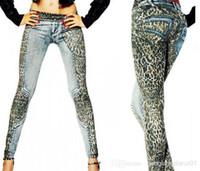 ladies trousers - New Fashion Leopard Slim Fit Pencil Jeans Trousers Casual Women Ladies Pants