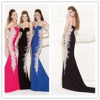 Wholesale 2015 Luxury Tarik Ediz Mermaid Evening Gowns with Spaghetti Strap Neckline Court Train Hot Pink Black Royal BlueFormal Prom Dress with Beads