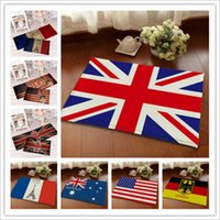 Wholesale 9 desighs Flannel anti skid carpet cm Australia USA UK Germany Canada Flag Doormat Flag Bedroom Carpet Flag Mats Door Rug LA199