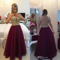 Wholesale Beaded Prom Dresses Gold Lace Appliques Bodice Burgundy Chiffon Dresses Party Evening Ruched Floor Length Sheer Back Sexy Formal Dress