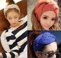 hair fall - 2015 Fashion Spring Fall Winter New Knit Woman Girls Headbands Girl Lady Students Weave Flower Solid Color Headband Hair Stick D3712