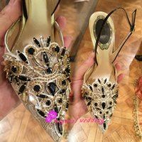 Cheap Bling Black Rhinestone Pointed Toe Lace Wedding Sandals Shoes with High Stiletto Heels Crystal Bridal Party Prom Bridesmaid Dress Shoes