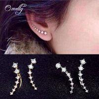 Ear Cuff asian fashion designers - Designer Earring Full Diamond Earrings Elf Ear Cuff Ear Clip Gold Filled Fashion Jewelry For Women Stud Earrings