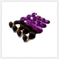 Cheap HOT 6A Virgin Hair Extensions 2 Tone Ombre Color 100% Indian Hair Weave Body Wave Remy Human Hair Weft 3 4pcs Lot Brazilian Hair Bundles