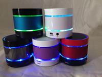 Wholesale Free DHL NEW S09 LED Light Ring Enhanced speaker Super Bass Metal Mini Portable BeatBox Hi Fi Bluetooth Handfree Mic Stereo Speakers