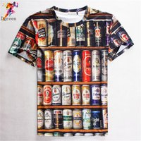 beer brand clothing - Fashion Hot Sales Hip hop T shirt Men D Stacked Beer Bottles Cans funny tee shirt Brand design men clothing
