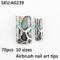 Cheap Wholesale-70 snake printed airbrush pre design tips designer french false nail art tips animal acrylic nails SKU:A0239
