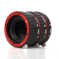 auto focus cameras - Red Aluminum Alloy Electronic AF TTL Auto Focus Macro Extension Ring Tube For Canon d d dIII DSLR Camera