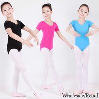 ballet dance costumes - Kids Baby Girls Ballet Dance Leotard Costumes Cotton Lycra Gymnastics Short Sleeve Clothes Leotards Black Pink Blue Rose SV005551