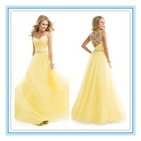 Cheap Gorgeous Yellow Aqua Beaded Prom Dresses 2015 A Line Straps Crystal Floor Length Tulle Long Formal Dresses Party Evening Gowns Plus Size