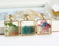Wholesale Christmas Slmulation Dried flowers Transparent Pendant necklaces memory glass locket necklace women