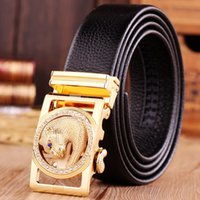 Wholesale Gold jaguar belts for men belt high quality top grain genuine leather real brand luxury designer automatic buckle hot