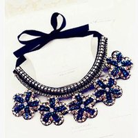 Wholesale Western Fashion Flower Collar Necklace Blue Crystal new arrival B4