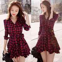 Casual Dresses belt vintage sale - Hot sale ball gown dress new fashion autumn spring Mini Belted Casual Women Dresses Red Plaid mini dress