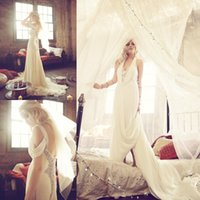 Wholesale 2015 Cheap Halter Bohemian Wedding Dresses Open Back Beads Crystal Court Train Lace Boho Country Bridal Gowns Custom Made High Quality