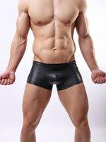 Wholesale 2015 whosale new Hot Sexy Men Faux Leather Underwear black Boxers decoration Underpants Pants Sheathy Cool M L XL