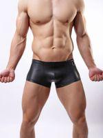 Wholesale Leather Pants Man Black - 2015 whosale new Hot Sexy Men Faux Leather Underwear black Boxers decoration Underpants Pants Sheathy Cool M,L,XL Free Shipping
