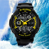 belts for buckles - Mens Delicate Cool S Shock Sports Watch LED Analog Digital Waterproof Alarm Military Watch Fashion Wristwatches for Female
