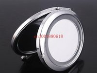 Wholesale Fedex DHL Women Lady Girl Mini Beauty Metal Make Up Cosmetic Makeup Round Mirror Silver