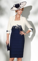 mother of the bride dress - 2015 Condici Appliqued Mother Of The Bride Dresses With Long Sleeves Jacket Jewel Neckline Knee Length Party Evening Dress