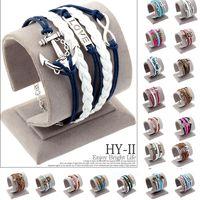 anchor bracelete - Vintage Braided Anchors Rudder bracelete Love owl best friends Leather Bracelet men jewelry heart Rope wrap Bracelets for women