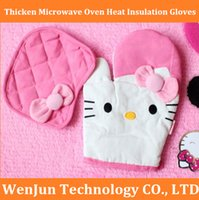 Wholesale Cute K Cat pink thicken microwave oven heat insulation gloves twinset microwave oven gloves insulation pad order lt no track