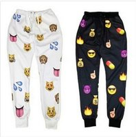 Wholesale 2015 New men Emoji print pants funny cartoon sweatpants black white thicken loose joggers harem trousers sportswear female clothes SUPERB
