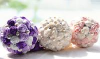 purple wedding decorations - 2015 Luxury Bridal Wedding Bouquet Cheap Cream Pink Purple Artificial Bridesmaid Flower Crystal Pearl Silk Rose Wedding Decoration In Stock