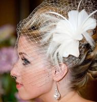 Wholesale Netting Ivory Feather Wedding Veil White Flower Bridal Veil Beads Birdcage Veil Headpiece Head Veil Wedding Bridal Accessories Wedding Veils