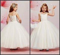 Cheap 2016 New White Lace Flower Girl Dress For Wedding Party Dress Little Girls Pageant Communion Dresses for Children dress
