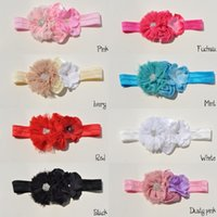 Headbands foe - Baby Headband Chiffon Flowers With Double Mini Satin Flower With Hydrangea flower FOE Headbands QueenBaby