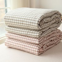 Wholesale Left ear Japanese style cotton plaid air conditioning was washed cotton summer was cool cotton blanket hold thin quilts core Sp