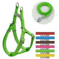 Wholesale 1cm Classic Dots Print Pet Dog Harness and Leash Set Colors LHJ1064