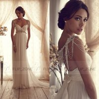 Wholesale Real Image Anna Campbell Wedding Dresses Spaghetti Strap Chiffon Beading Sleeves Crystal Backless Long Beach Bridal Gowns A Line White