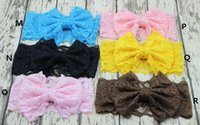Headbands Lace Floral Hair bowknot lace Headbands Childrens Accessories Head Bands Infants big bows Headband For Girls Baby Headbands Baby Hair Accessories
