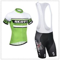 Wholesale SCOTT Green color bike shorts short sleeve cycling jersey set new arrival mountain bike jersey with size XS XL