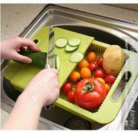 Wholesale 500pcs CCA3600 High Quality Korea Design Creative Kitchen In Cutting Board Wash And Handle Cut Fruit Meat With Sink Drain Chopping Board