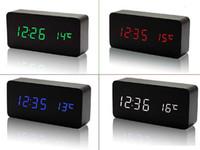 Wholesale 2015 Upgrade fashion LED Alarm Clock despertador Temperature Sounds Control LED night lights display electronic desktop Digital table clocks