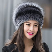 beaver fur hat - New women Beaver rabbit wool hat more female warm rabbit hair weaving fur fox fur hats