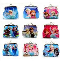 Wholesale Girls D Cartoon Frozen Sofia Princess Coin Purse with Iron Button Shell Bag Wallet Purses Minions Children Gifts