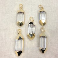 crystal quartz double point - H DP102 Healing Crystal Quartz Point Pendant with Double Plated Gold Edge