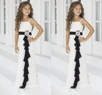 Girl bella bridesmaid dresses - 2014 Ivory Black Junior Bridesmaid Dresses Spaghetti Strap A Line Floor Lengthn Flower Girl Gowns Ruffled Bella Chiffon by Alexia Juniors