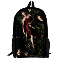 beauty browns plains - New fashion Vampire Diaries waterproof bag for boy and gir beauty Audrey Hepburnl casual printing school backpack for teenagers
