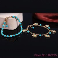 Wholesale Boho Layers Rhinestone Flower Beads Tassel Turquoise Foot Chain Anklet Bracelet Hot New