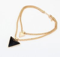 Wholesale Women s Triangle Collar Party Necklaces European Fashion Necklaces Chirstmas Birthday Gift Black Red Blue Purple White Apricot Orange M2318