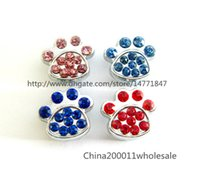 Alloy banded collar - can through mm Belt Pet Collar band slide Charms mix color Rhinestone dog paw Internal Dia mm