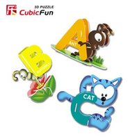 abc school - candice guo D puzzle toy CubicFun paper model ABC animals school letters English early learning DIY toy C024h pc