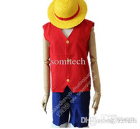 Wholesale Luffy Cosplay Costume One Piece New Arrival Vest Shorts Straw Hat