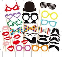 Wholesale 31pcs set Photo Booth Props Set of Wedding Party Photobooth Funny Masks Bridesmaid Gifts For Wedding decoration