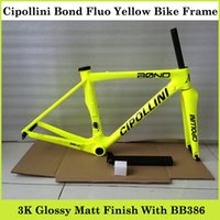 bicycle frame parts - Cipollini Bond Carbon Bike Frame Fluo Yellow Road Bicycle Parts K Weave With BB386 Bicycle Frame Size XS S M L For Sale